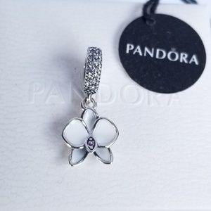 PANDORA Dangle Charm Orchid White